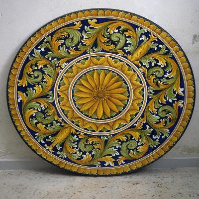 Table with Floral Decoration, Glazed Lava Stone,