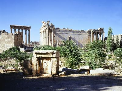 Lebanon, Heliopolis, T Temple of Bacchus with Temple of Jupiter-Baal in Background