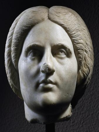 Marble Head of Woman, Front View, Uncovered in Pergamon, Turkey, 193-211 AD
