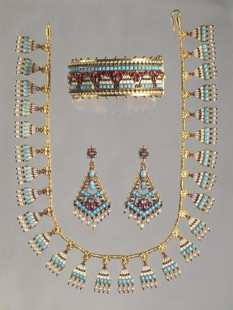 Gold Demi Parure Set with Turquoises, Seed Pearls and Diamonds