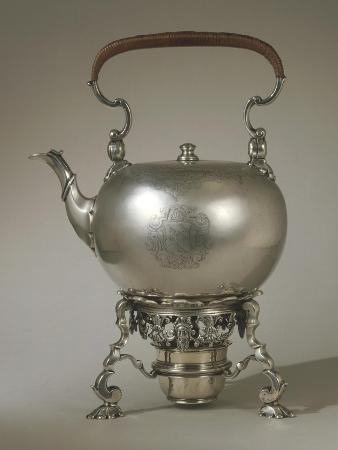 Silver Kettle with Stove, Marked Edward Vincent, George III Style, 1734