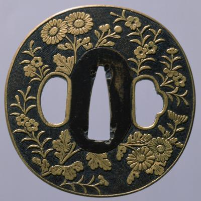 Wrought Iron Shakudo Nanako Tsuba, Japan