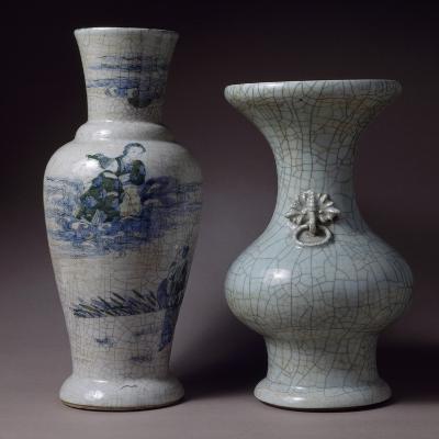 Crackle Celadon Vase and Blue and Green Vase