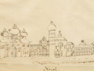 Sketch Depicting the Kremlin by Robert Schumann, 1844, Russia 19th Century