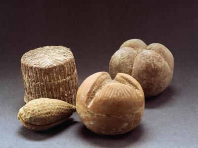 Clay Statues of Fruits and Cheese, from Chamber Tomb of Agropoli, Campania, Italy