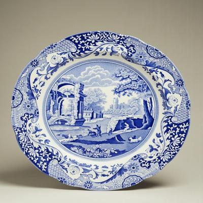 Plate Decorated with Landscape, Ceramic