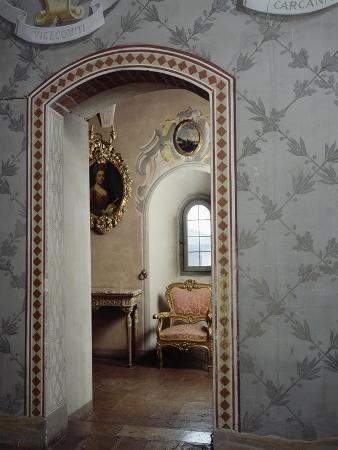 Italy, Morando Bolognini Castle, Mozza Tower, Throne Room with Entrance to Golden Salon