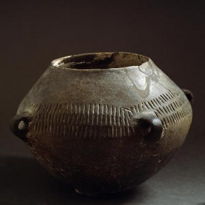 Circular Ceramic Vase with Geometric Patterns and Four Small Loops, Bronze Age