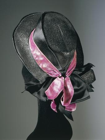 Women's Black Florence Straw Hat with Pink Satin and Velvet Double Ribbon, Early 1900