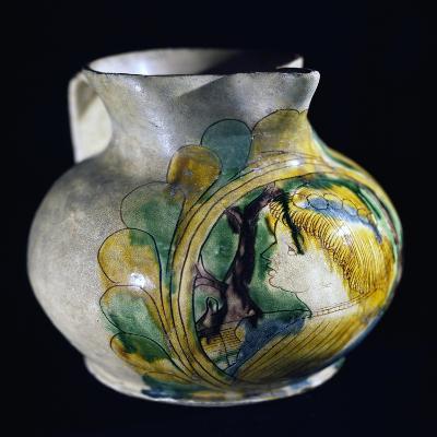 Decorated Pitcher, Ceramic, Padua Manufacture, Italy, Circa 1500