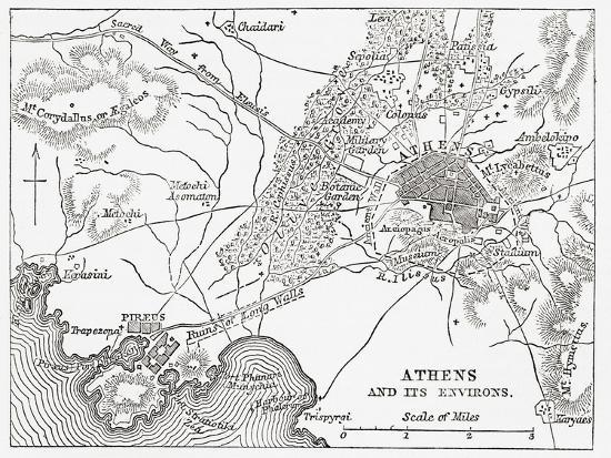 Map Of Athens And Piraeus Greece Mid 19th Century From The