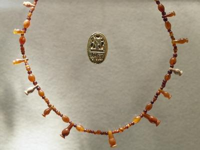 Carnelian Necklace and Gold Ring Dedicated to Ramesses II