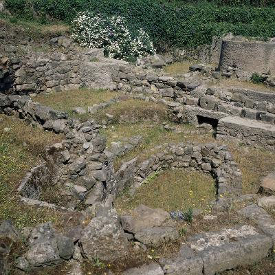 Remains of Prehistoric Settlement on Acropolis, Lipari, Aeolian Islands, Sicily, Italy