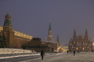 Russia, Moscow, Red Square, Lenin Mausoleum and Kremlin Walls with Historical Museum in Background