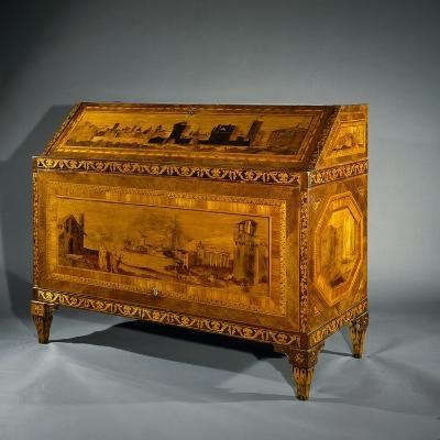 Neoclassical Style Lombard Drop Leaf Writing Desk Inlaid with Perspective Scenes. Italy