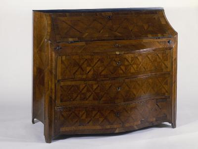 Sicilian Chest of Drawers with Drop Leaf, Walnut Inlays and Veneer Finish, Ca 1750, Italy