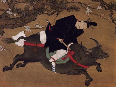 Kakemono Painting on Paper Depicting Tenjin or Kanko as If Seen in Dream