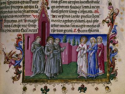 St Francis Delivering the Habit to St Clara, Miniature from the Giotto School, Italy