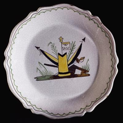 Revolutionary Era Dish, Pottery, Nevers Manufacture, Burgundy, France