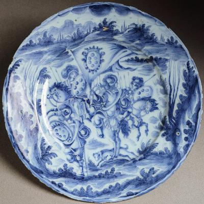 Plate Decorated with Figures of Knights and Knaves