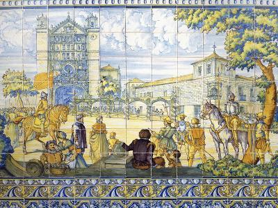 Philip II Being Proclaimed King of Castile, March 28, 1556, Painted Talavera Tiles, 16th Century