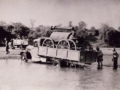 Italian Motorized Column Crossing River in Today Somalia