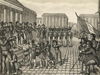 Demonstration in Paris in Place De La Bourse During the July Revolution, July 28, 1830, France
