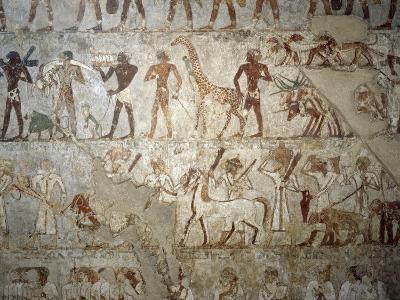 Nubians with a Baboon, a Giraffe, Elephant Tusks, Gold and Furs, Syrians with Chariots, Horses