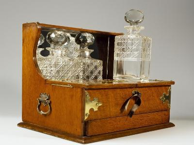 Oak Tantalus Decanter Box with Three Crystal Bottles