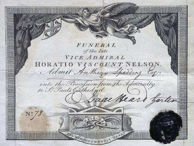 Invitation to Admiral Horatio Nelson's Funeral, 1805