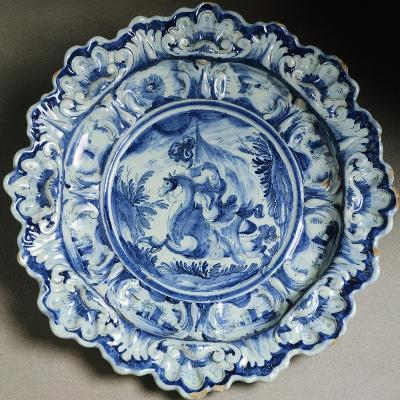 Plate Decorated with Figure of Knight, Ceramic