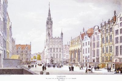 Gdansk Market Square, 1850, Poland 19th Century