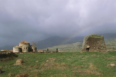 Italy, Sardinia Region, Silanus, Province of Nuoro, Nuraghe Santa Sarbana and Homonymous Church