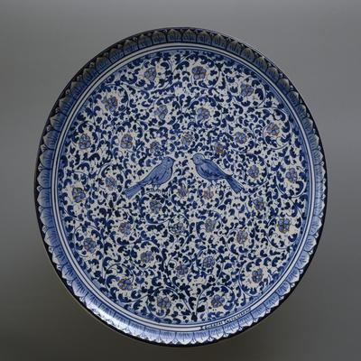 Plate with Two Birds in Centre Decorated in 17th Century Caltagirone Style, Ceramic, Diameter 43 Cm