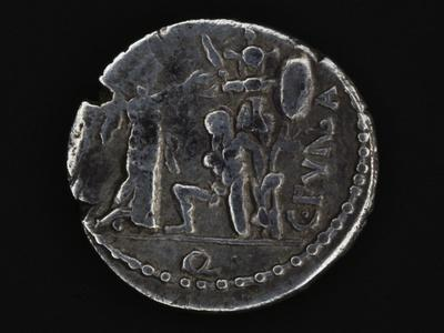 Denarius Bearing Victory Crowning Mario after Battle of Aquae Sextiae, 101 BC Roman Coins