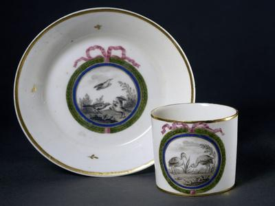 Cup and Saucer Decorated with Birds, 1790