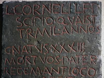 Slab from Lucius Cornelius Scipio's Sarcophagus from Tomb of Scipios, Via Appia, Rome, Italy BC