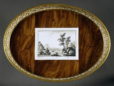 Tray for Serving Tea and Coffee with Trompe L'Oeil Decorations