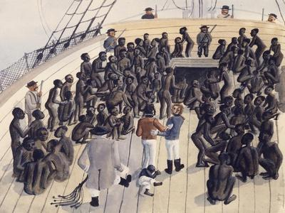 Watercolor Depicting the Voyage of the Treatment of Blacks in the Former West African Colonies