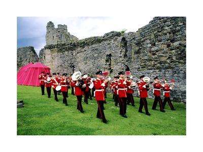 British Military Marching Normandy Brass Band, Richmond Castle, Yorkshire