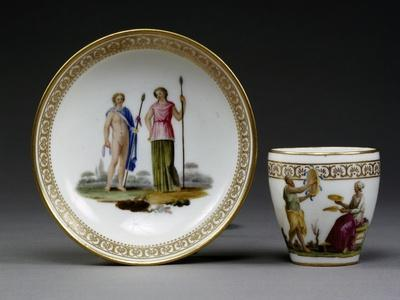 Cup and Saucer, Porcelain, Royal Workshop of King Ferdinand Manufacture, Naples, Italy