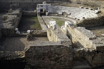 Ruins of Roman Theatre of Albintimilium, Ventimiglia, Liguria, Italy Ad