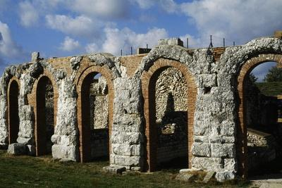 Arched Portico of Roman Theatre in Gubbio, Umbria, Italy BC