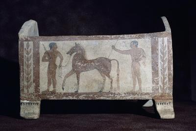 Painted Terracotta Urn with Two Male Figures and Horse