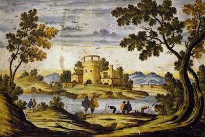 Ornamental Tile with Landscape and Castle, Maiolica, Castelli Manufacture, Abruzzo, Italy