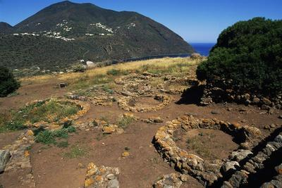 Remains of Oval Huts, Prehistoric Village of Capo Graziano, Aeolian Islands, Sicily, Italy