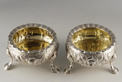 Silver Salt Cellars with Embossed Decorations, London 1741-1769