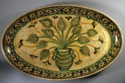 Medieval Style Plate with Floral Decorations, Ceramic