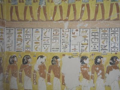 Egypt, Thebes, Luxor, Valley of the Kings, Mural Painting in Tomb of Ramses IV