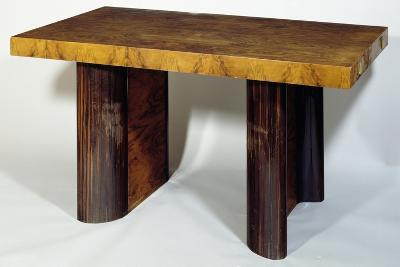 Art Deco Style Extendable Table, Walnut Root Top, Curved Walnut and Rosewood Legs, France